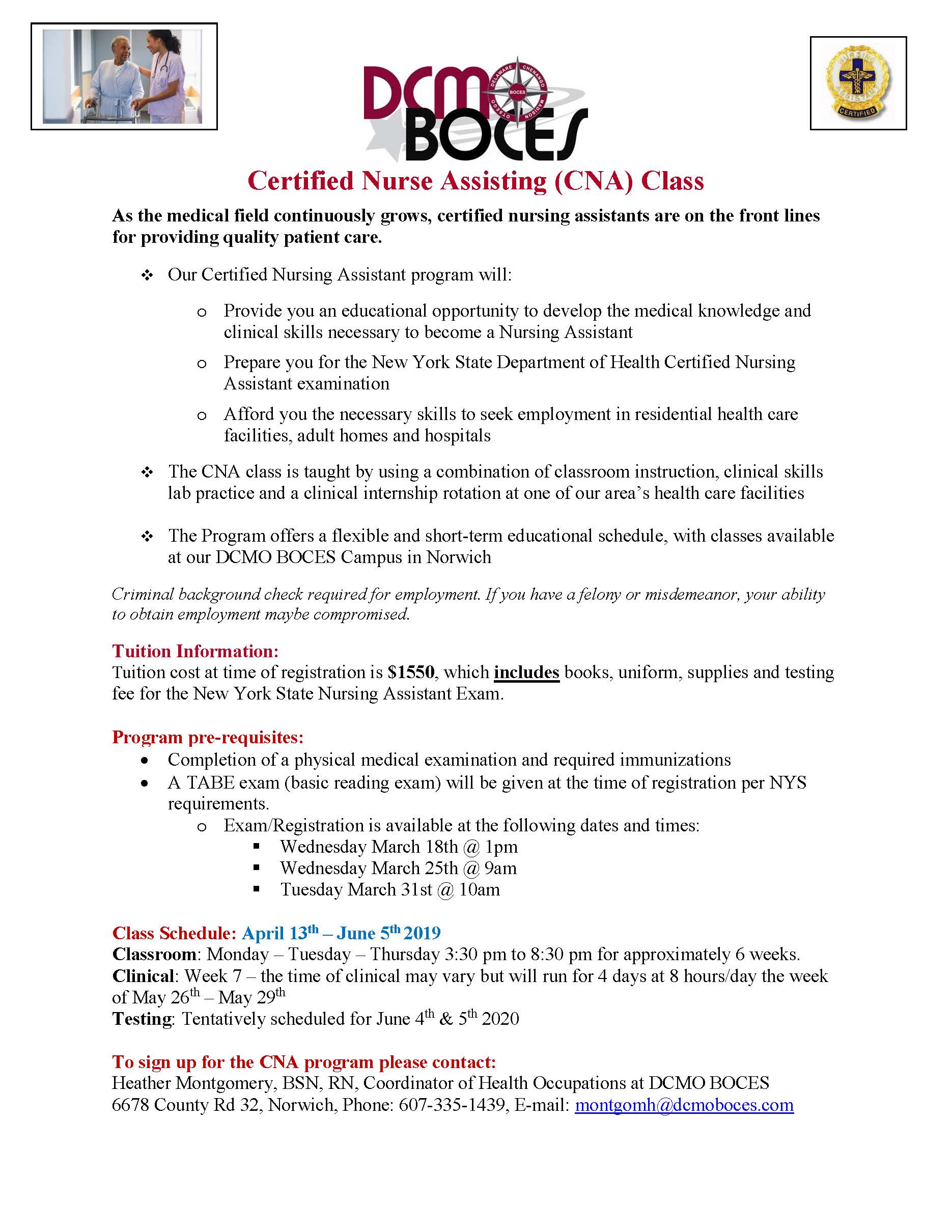 Certified Nurse Assisting Class April 2020