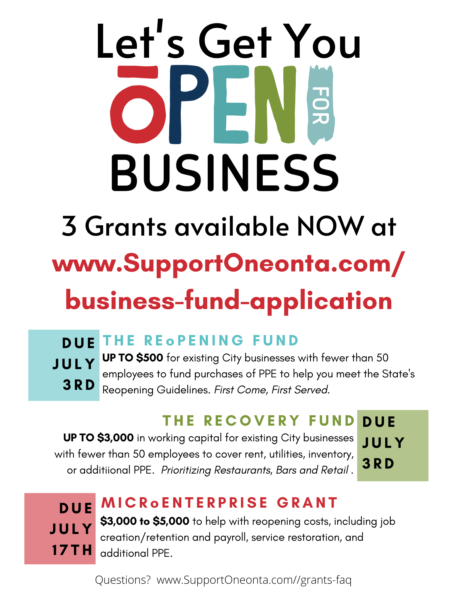 Support Oneonta Grants